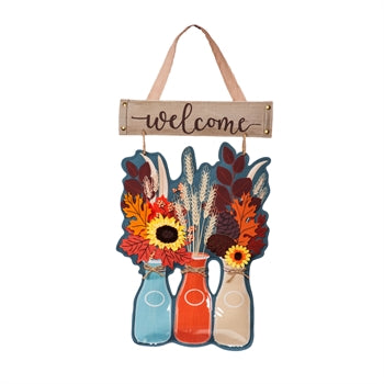 Autumn Milk Bottles Door Decor