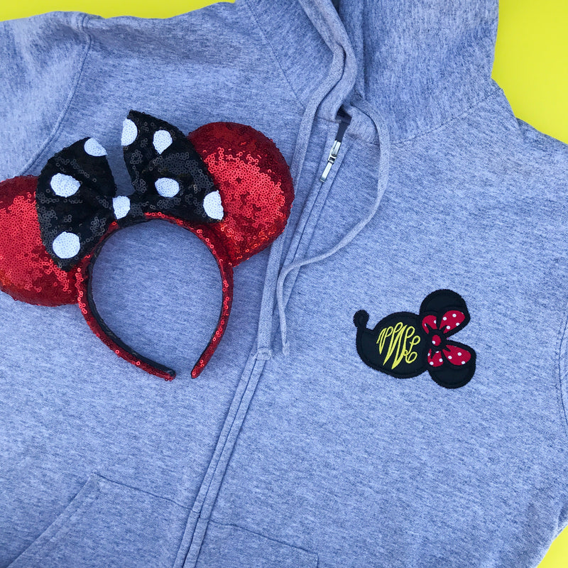 PLMouse Monogram Ladies Full Zip Hoodie
