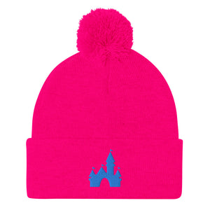Castle Pom-Pom Beanie (7 business day production time) - Neon Pink or Black