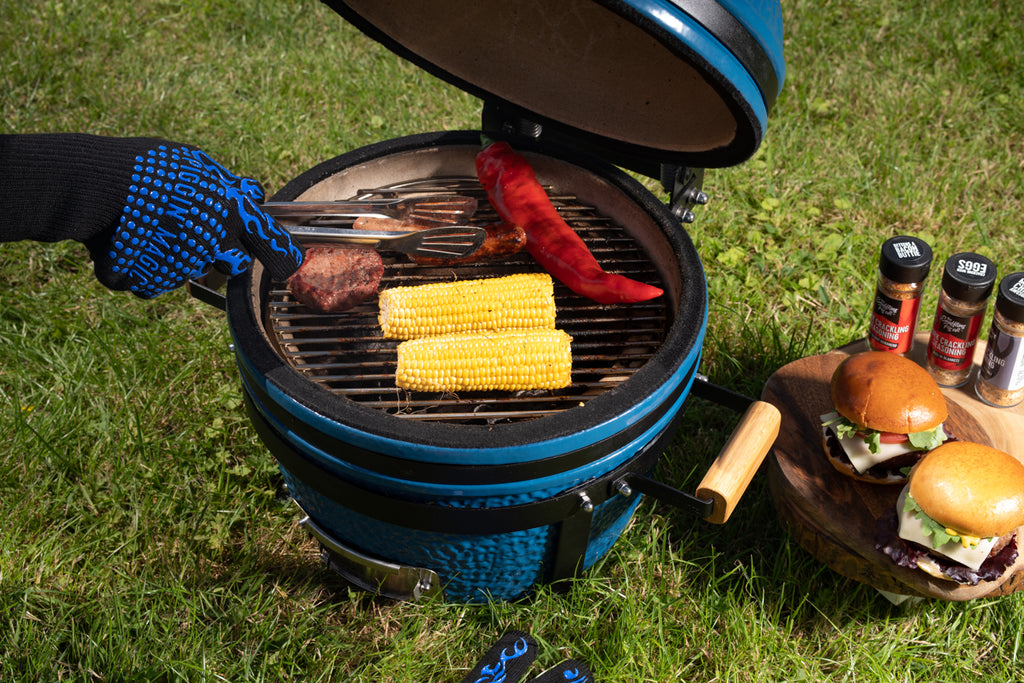 Pig Bluey BBQ open barbecuing sweetcorn
