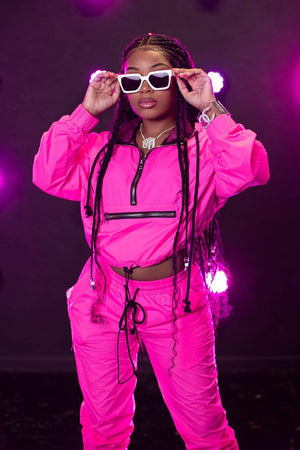 Aaliyah Jay: Exclusive Neon It Girl Windbreaker Cropped Hoodie