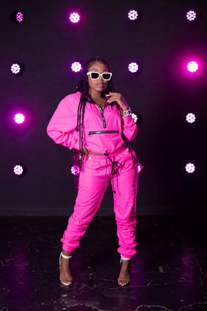 Aaliyah Jay: Exclusive Neon It Girl Windbreaker Joggers