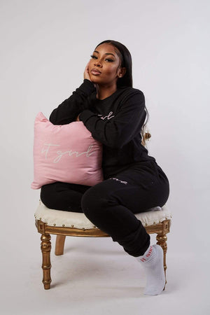 Aaliyah Jay: It Girl Script Pink Pillow