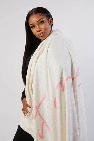 Aaliyah Jay: It Girl Script White Blanket