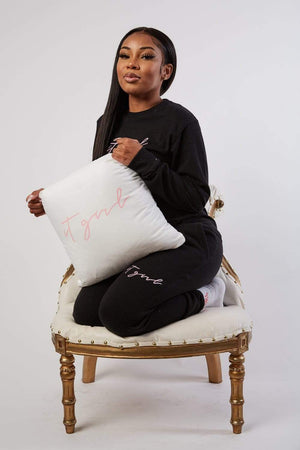 Aaliyah Jay: It Girl Script White Pillow