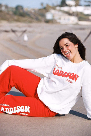 Addison Rae: White Addison For You Crewneck