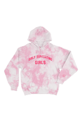 Adelaine Morin 'Girls Supporting Girl's Pastel Pink Tie Dye Hoodie