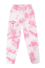 Adelaine Morin 'Girls Supporting Girl's Pastel Pink Tie Dye Sweatpants