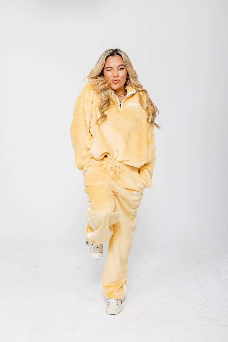 Adelaine Morin: 'Girls Supporting Girls' Yellow Velour Jacket