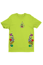 Avani Checkers and Smiles Neon Green Shirt