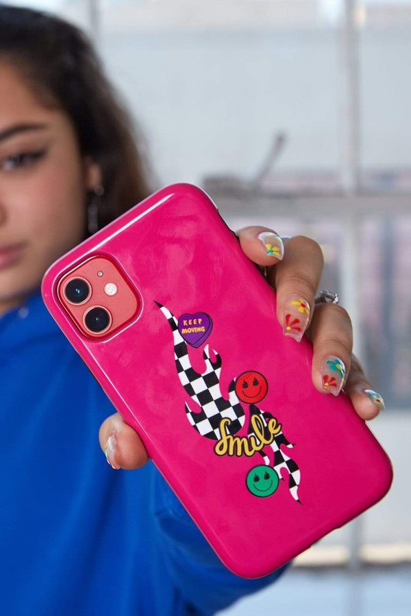 Avani Checkers and Smiles Pink Phone Case
