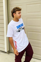 Cale Saurage: Damn Baby Racing '225 Car' White  Shirt