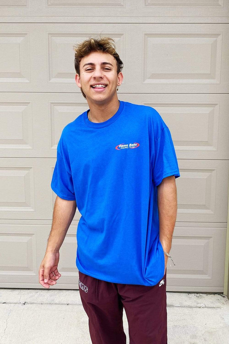 Cale Saurage: Damn Baby Racing Blue Shirt