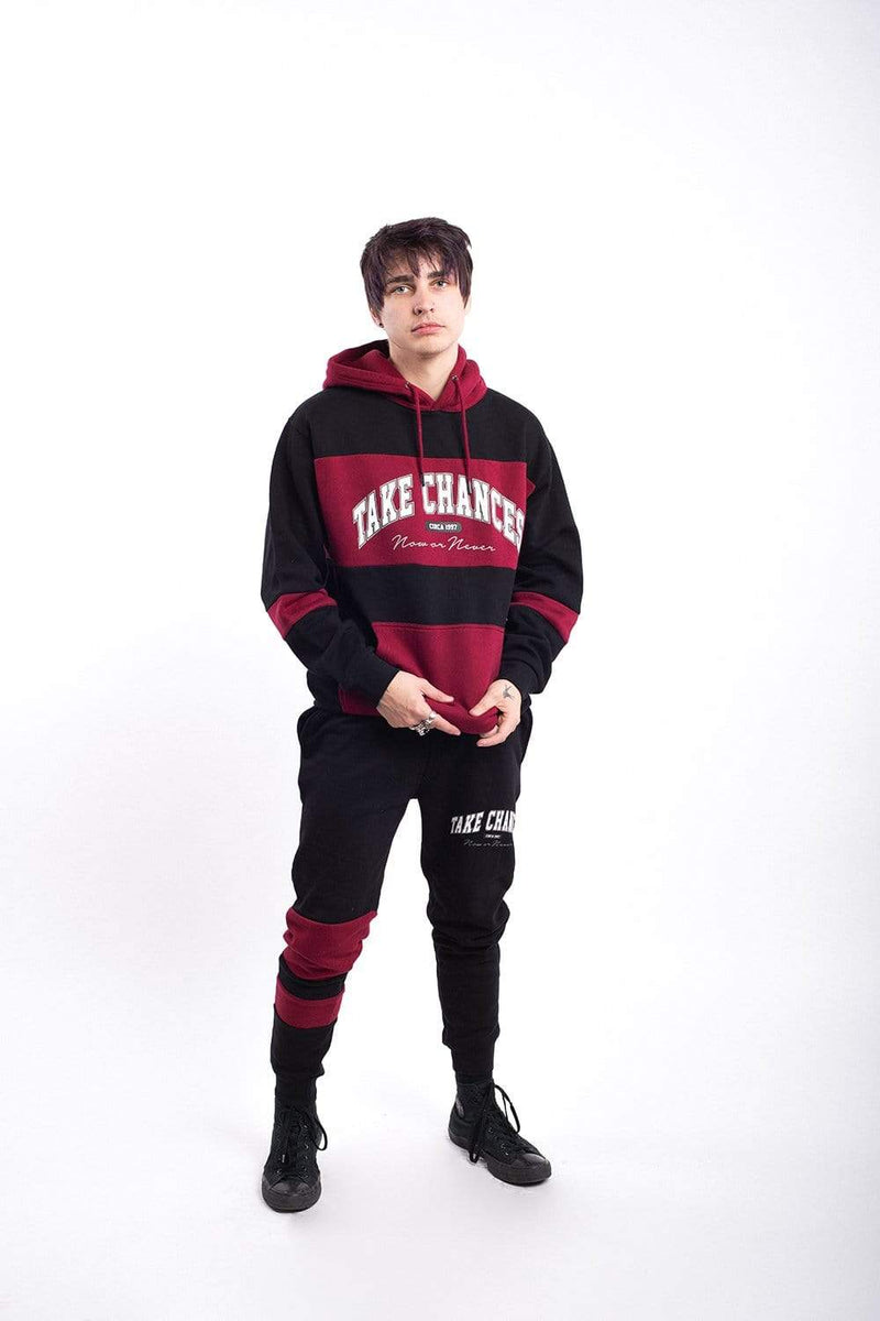 Colby Brock: Take Chances Maroon Color Block Hoodie