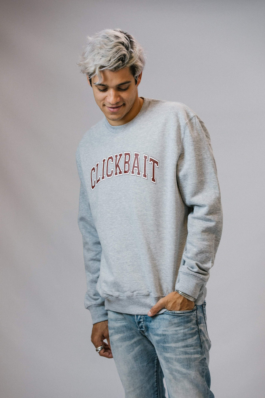 David Dobrik Heather Grey Clickbait Sweater