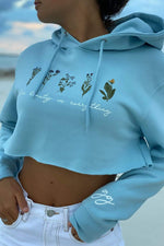 Gabbie Gonzalez 'See Beauty in Everything' Blue Crop Hoodie