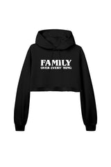 Joey Sasso: Family Over Everything Black Cropped Hoodie