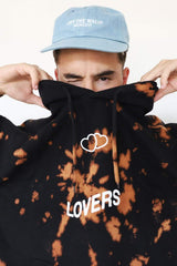 "Kian Lawley ""Lovers"" Bleach Tie Dye Black Hoodie"