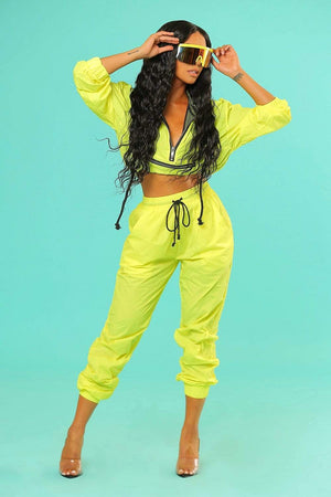 Liane V: Exclusive Neon Windbreaker Cropped Hoodie