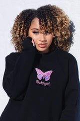 Lisette 'BABY GIRL' Embroidered Butterfly Black Crewneck