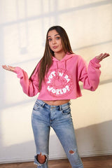 Merrell Twins: Pink Cropped Wut In Da World Hoodie