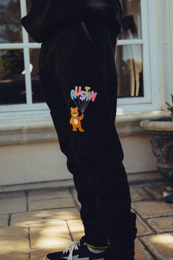Nick Austin Teddy Bear Black Joggers