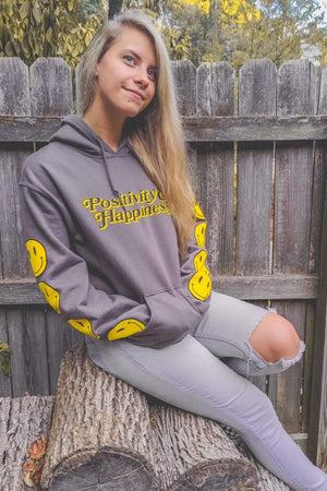 NOISYBUTTERS Exclusive 'Positivity & Happiness' Charcoal Hoodie