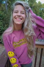 NOISYBUTTERS Exclusive 'Positivity & Happiness' Dusty Pink Crewneck