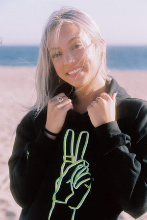 Riley Hubatka 'Neon Peace Sign' Black Hoodie