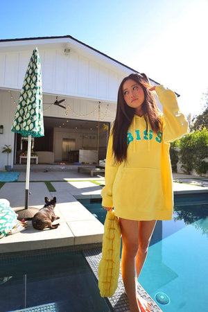 Stephanie Soo Signature 'BISS' Lemon Vintage Wash Hoodie