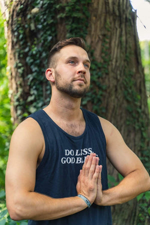 Trey Kennedy Do Less God Bless Men's Navy Tank Top