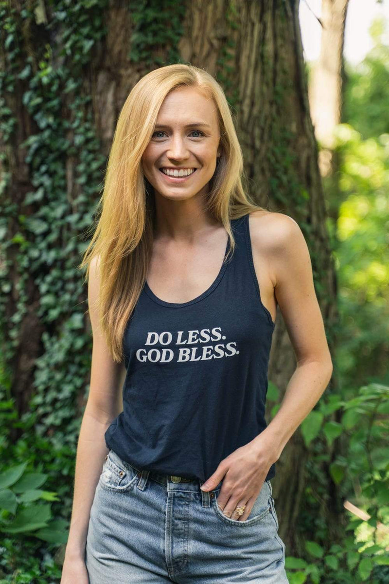 Trey Kennedy Do Less God Bless Women's Navy Tank Top