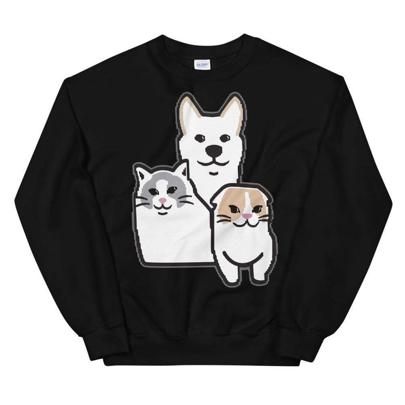 xChocoBars: Cat Dog Black Crewneck