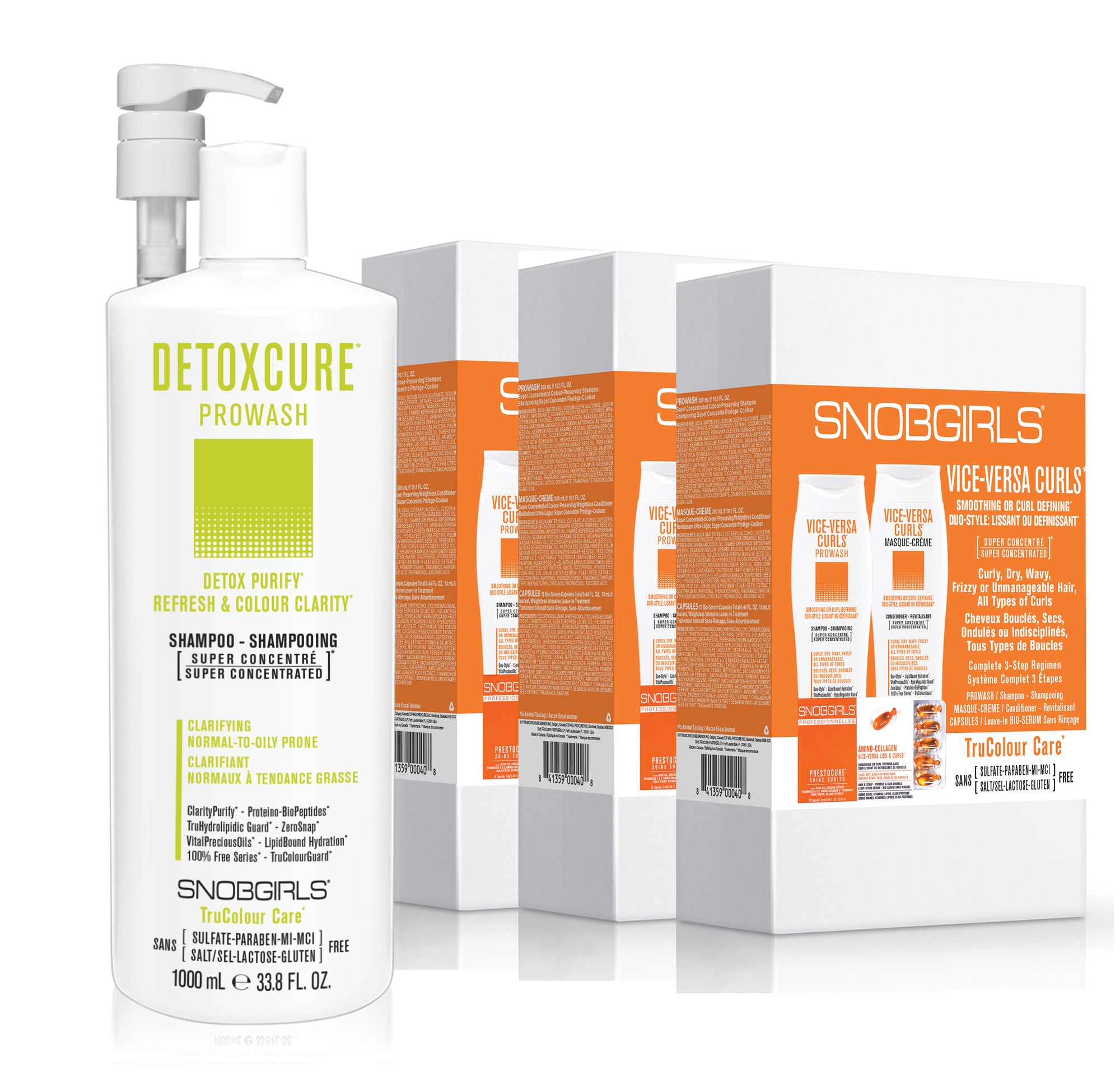 GIFT SETS- 3 X Trio VICE-VERSA CURLS Duo-Style: Smoothing or Curl Defining + Detoxcure Prowash Liter - SNOBGIRLS.com