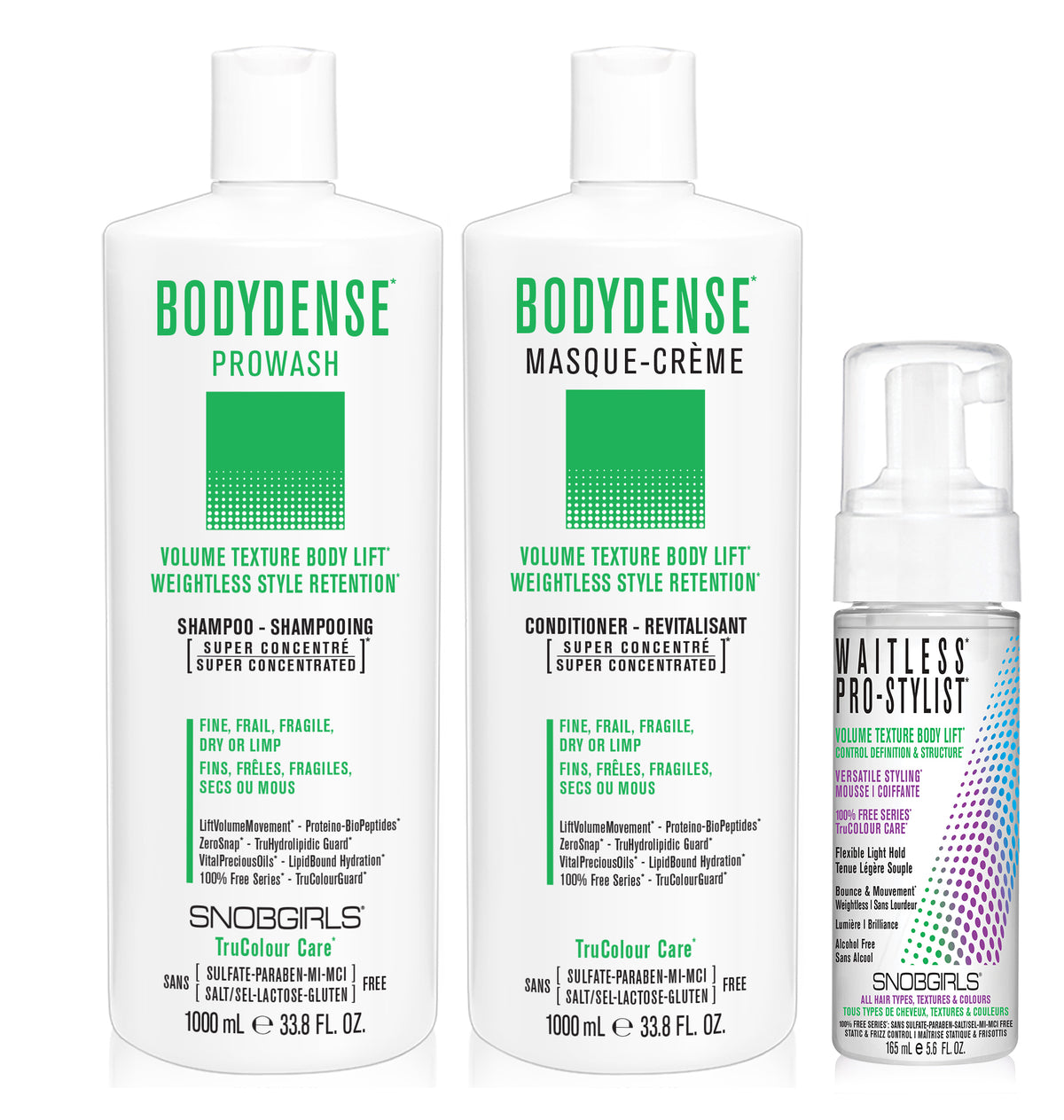 DUO BODYDENSE Bundle- 1 Shampoo 33.8oz. with 1 Conditioner 33.8oz and 1 Styling Mousse - SNOBGIRLS.com