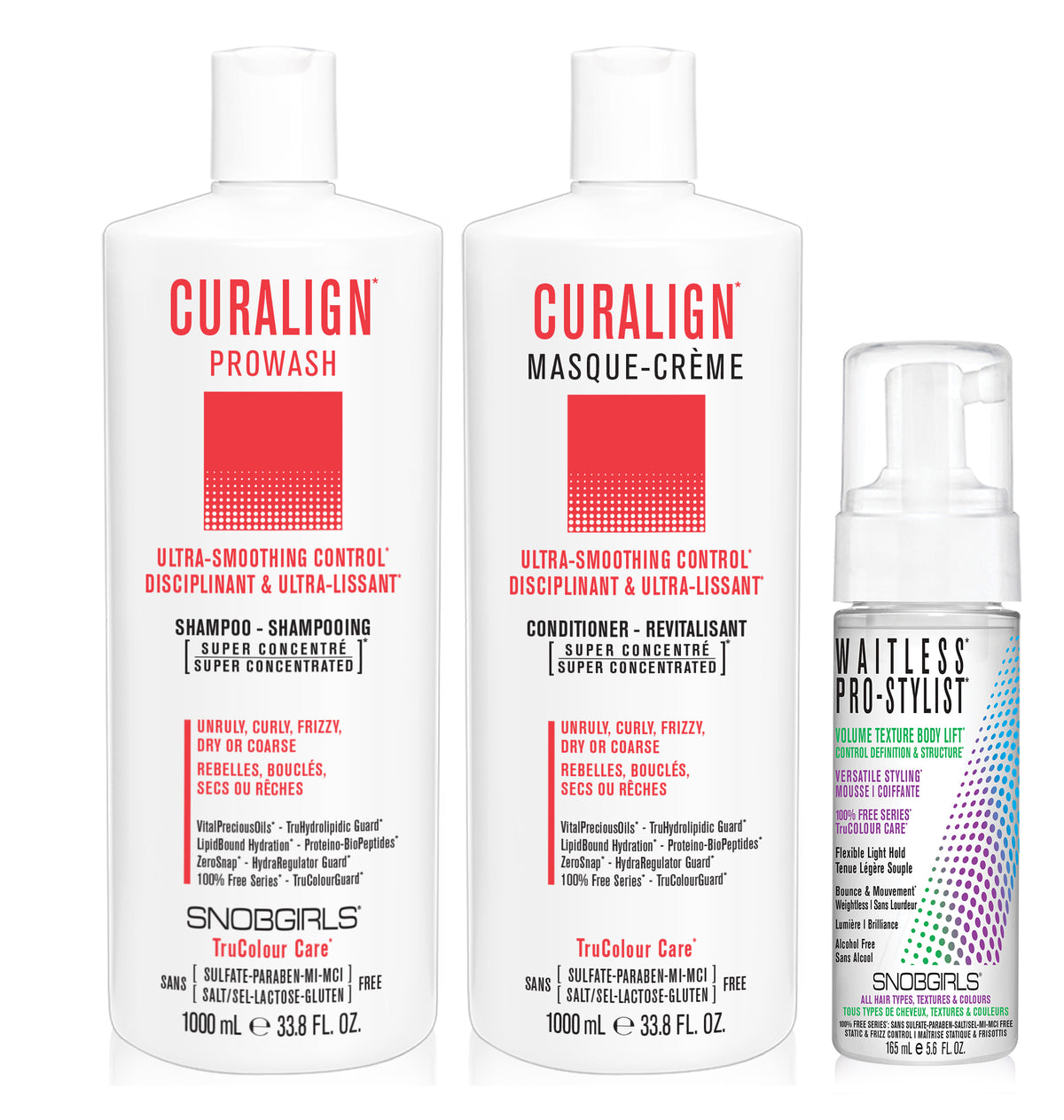 DUO CURALIGN Bundle- 1 Shampoo 33.8oz. with 1 Conditioner 33.8oz and 1 Styling Mousse - SNOBGIRLS.com