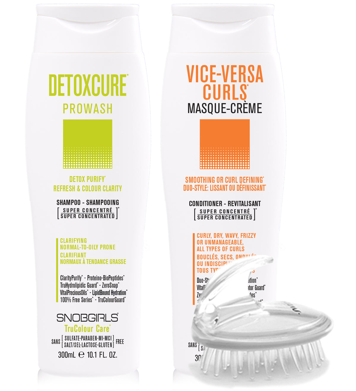 DUO DETOXCURE Prowash + VICE-VERSA CURLS Masque-Creme 10oz + Shampoo Brush - SNOBGIRLS.com