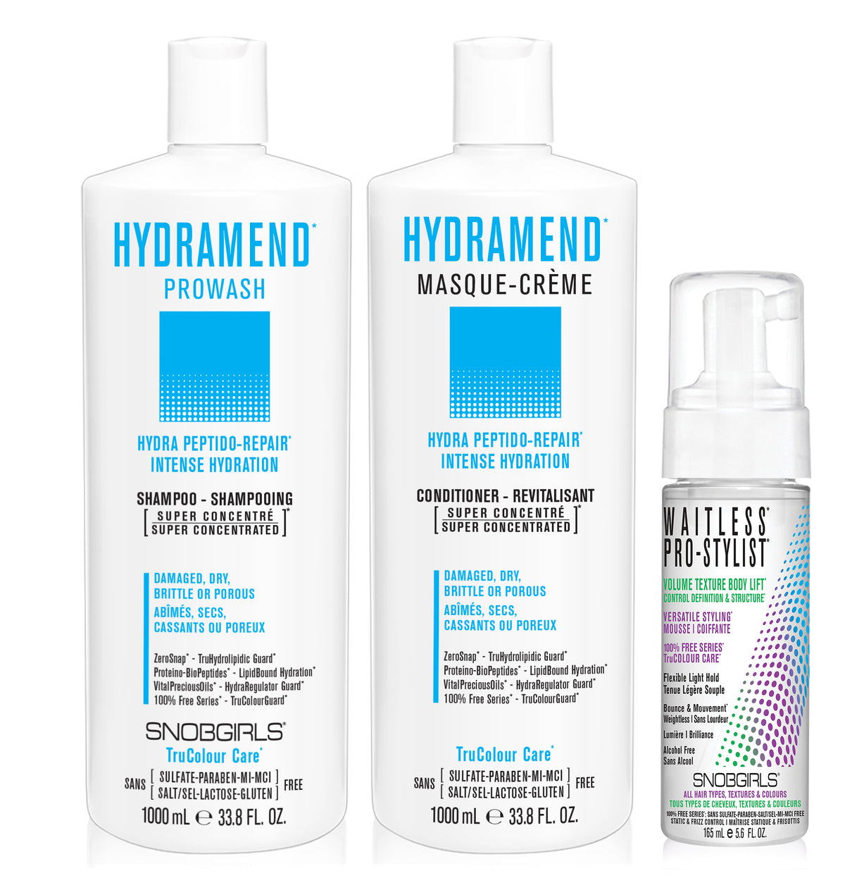 DUO HYDRAMEND Bundle- 1 Shampoo 33.8oz. with 1 Conditioner 33.8oz and 1 Styling Mousse - SNOBGIRLS.com