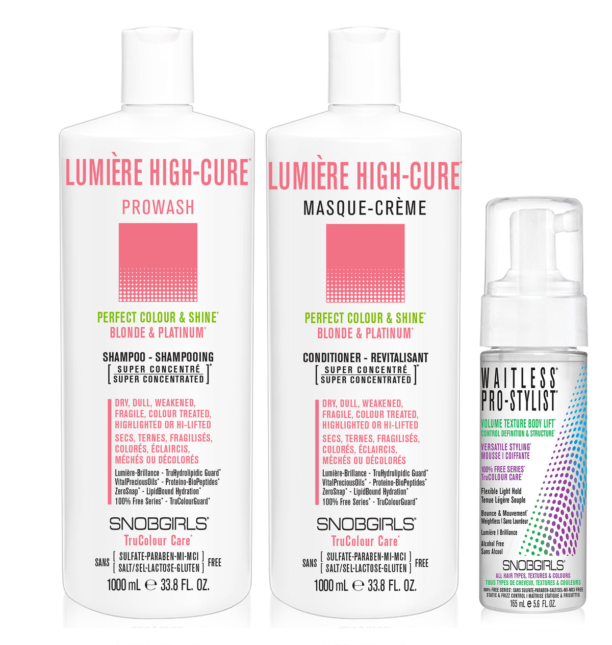 DUO LUMERE HIGH-CURE Bundle- 1 Shampoo 33.8oz. with 1 Conditioner 33.8oz and 1 Styling Mousse - SNOBGIRLS.com