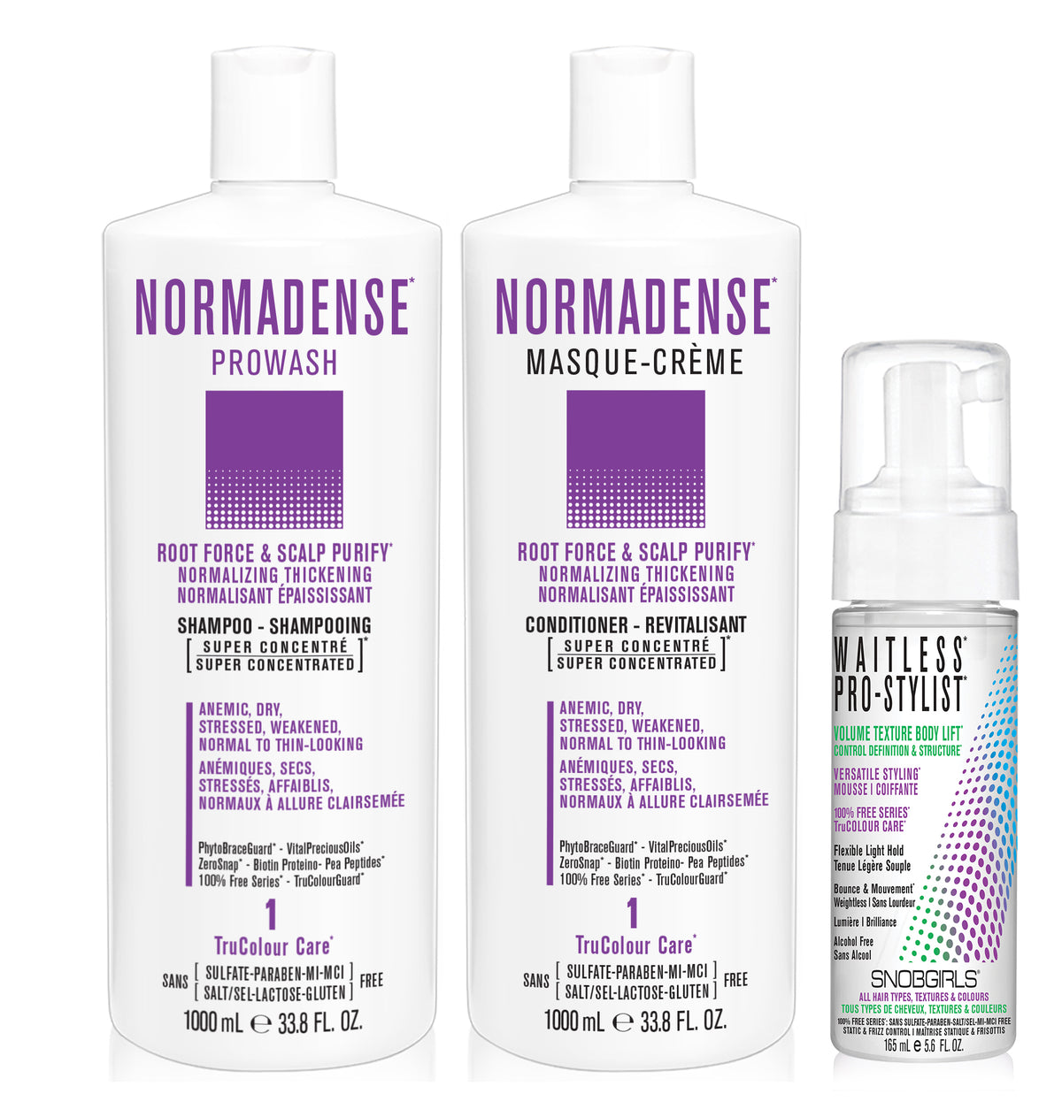 DUO NORMADENSE 1 Bundle- 1 Shampoo 33.8oz. with 1 Conditioner 33.8oz and 1 Styling Mousse - SNOBGIRLS.com
