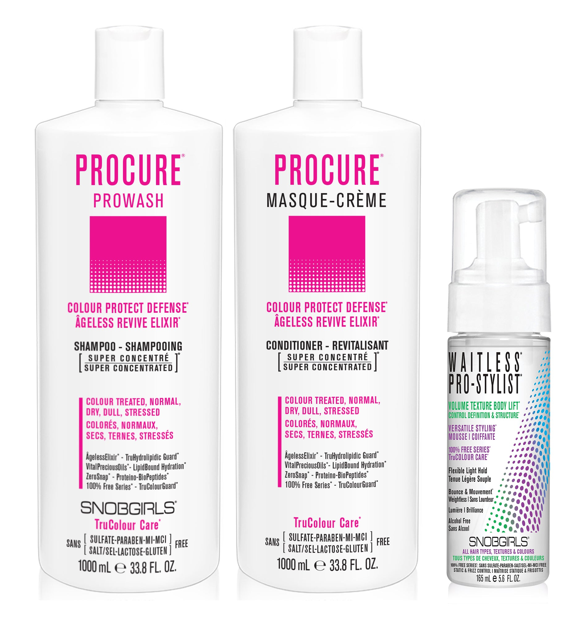 DUO PROCURE Bundle- 1 Shampoo 33.8oz. with 1 Conditioner 33.8oz and 1 Styling Mousse - SNOBGIRLS.com