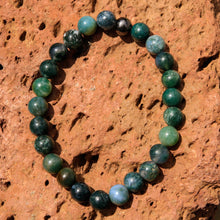 Load image into Gallery viewer, Green Moss Agate Bead Bracelet (BB 1019)