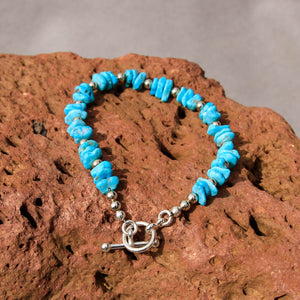 Turquoise and Sterling Silver Bead Bracelet (BBTC 1002)