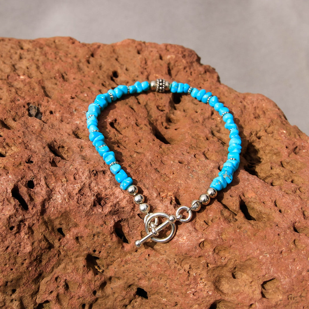 Sleeping Beauty Turquoise and Sterling Silver Bead Bracelet (BBTC 1004)