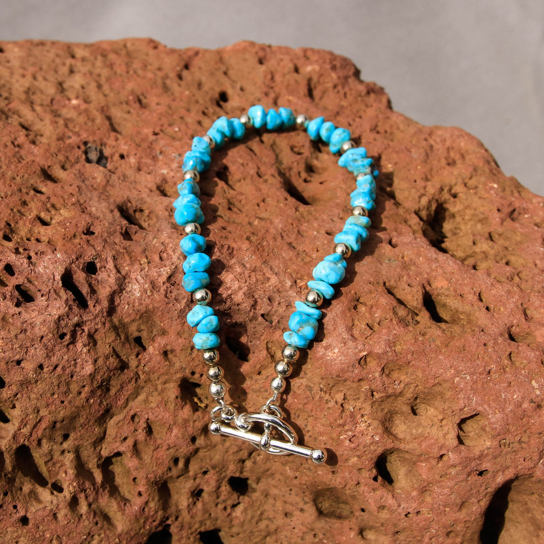 Turquoise and Sterling Silver Bead Bracelet (BBTC 1006)