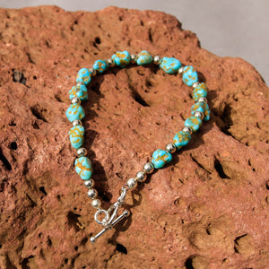 Turquoise and Sterling Silver Bead Bracelet (BBTC 1007)