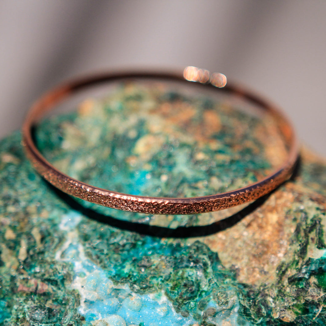 Copper Bangle Bracelet - hand textured (CBB 1003)