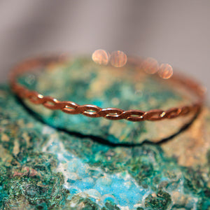 Copper Bangle Bracelet - hand textured (CBB 1006)