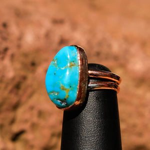 Turquoise Cabochon and Copper Ring (CR 1010)