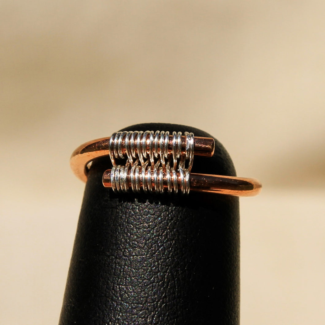 Copper Ring with Sterling Silver Wire (CR 1004)